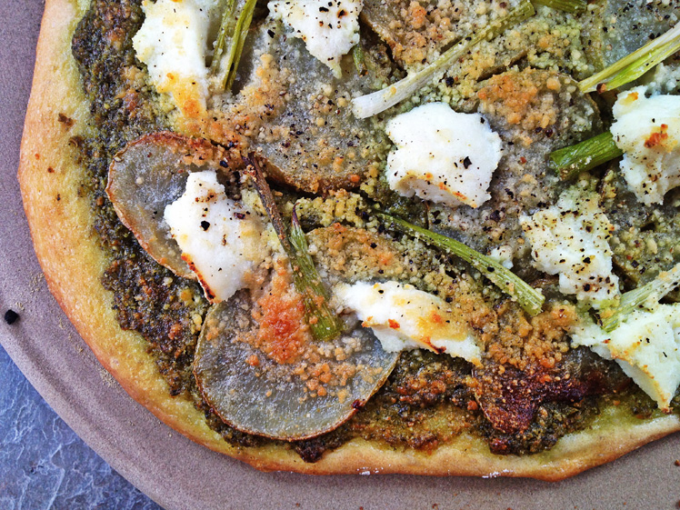 Potato Pizza with Arugula-Garlic Scape Pesto