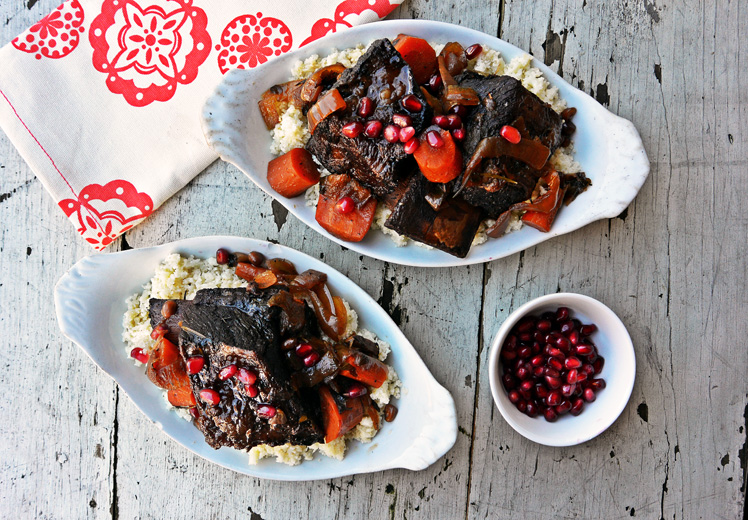 Slow Cooker Pomegranate Beef Short Ribs with Parmesan Cauliflower Grains