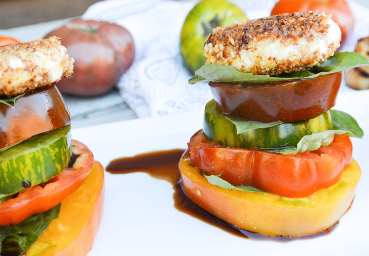 Crusted Goat Cheese Caprese Stacks