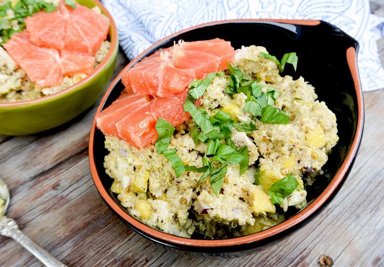 Chicken-Quinoa Bowls with Tahini-Mixed Nut Pesto