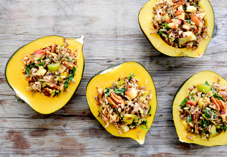 Acorn Squash with Wild Rice Stuffing