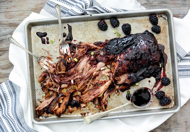Easy Slow Cooker Pork Roast with Hoisin-Blackberry Sauce