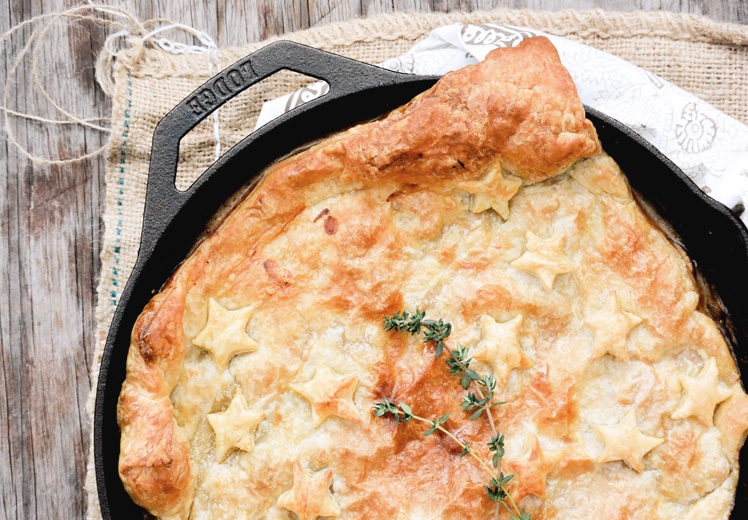 Skillet Chicken and Mushroom Pot Pie