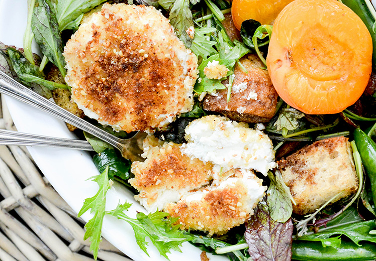 Crusted Goat Cheese Spring Panzanella Salad