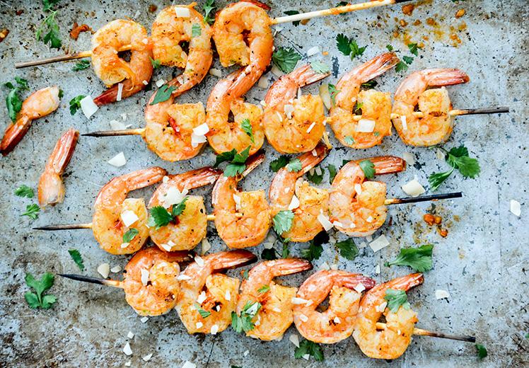 Coconut-Harissa Grilled Shrimp Skewers