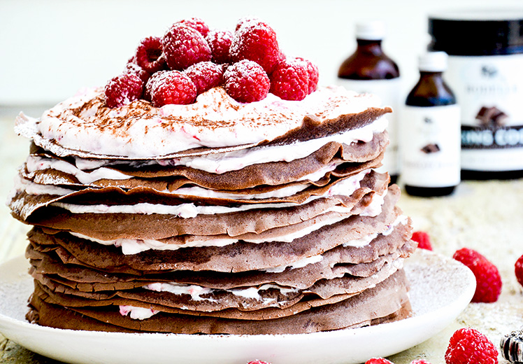 Chocolate-Raspberry Cream Crêpe Cake