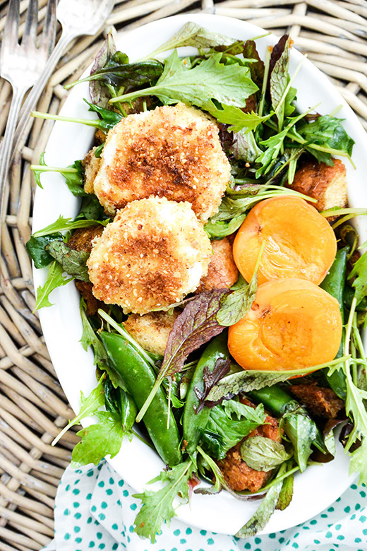 Crusted Goat Cheese Spring Panzanella Salad | www.floatingkitchen.net