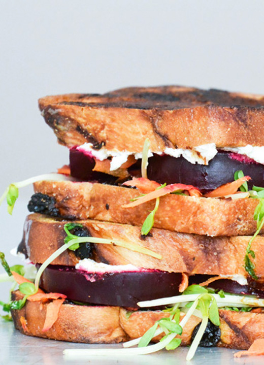 Beet and Whipped Feta Grilled Cheese | www.floatingkitchen.net