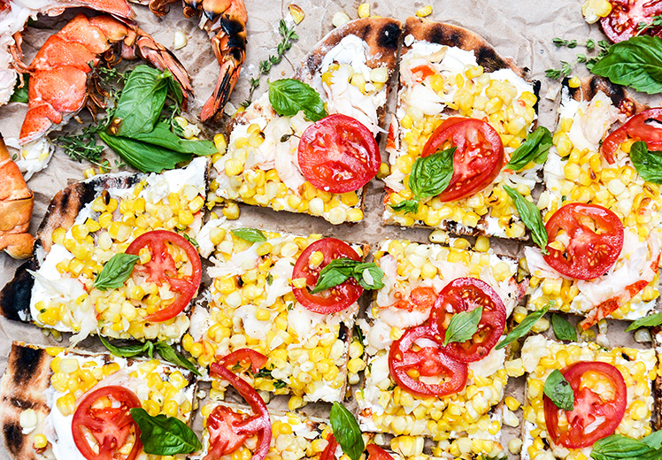 Grilled Lobster and Corn Pizza with Goat Cheese and Fresh Tomatoes
