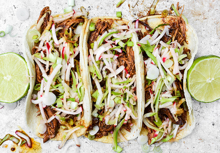 Shredded Hoisin-Blackberry Chicken Tacos with Crunchy Slaw
