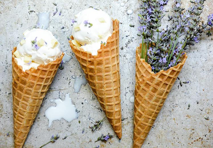 Lavender White Chocolate Chunk Ricotta Ice Cream