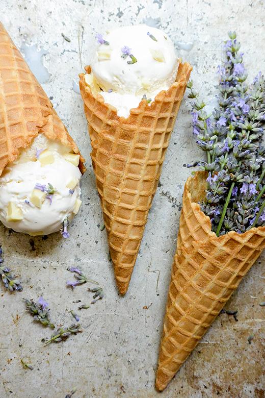 Lavender White Chocolate Chunk Ricotta Ice Cream | www.floatingkitchen.net