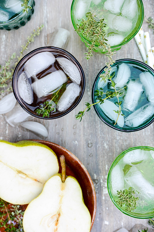 Champagne-Elderflower Cocktail with Pear and Thyme   www.floatingkitchen.net