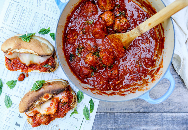 Chicken Parmesan Meatball Subs