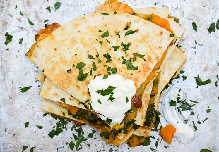 Sweet Potato, Pinto Bean and Kale Quesadillas