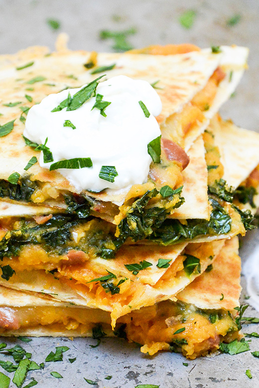 Sweet Potato, Pinto Bean and Kale Quesadillas | www.floatingkitchen.net