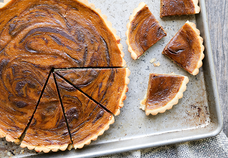 Chocolate-Swirled Pumpkin Tart | www.floatingkitchen.net