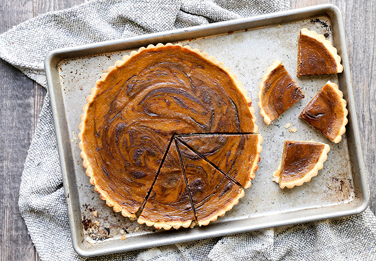 Chocolate-Swirled Pumpkin Tart