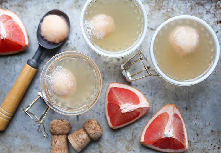 Pink Grapefruit-Champagne Sorbet Floats