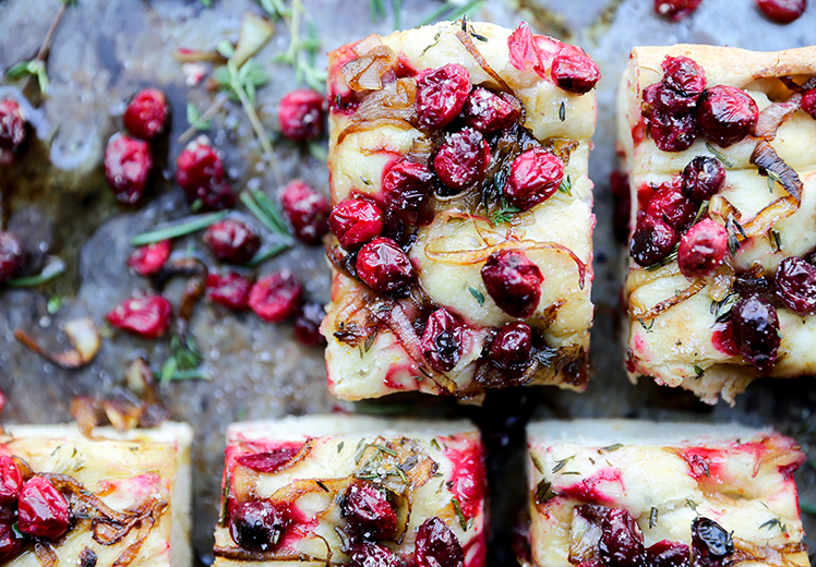 Cranberry, Caramelized Onion and Fresh Herb Focaccia