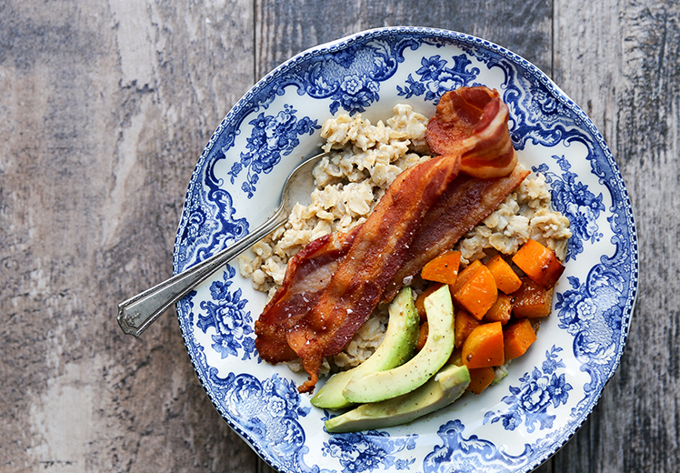 Savory Oatmeal with Bacon, Roasted Squash and Avocado