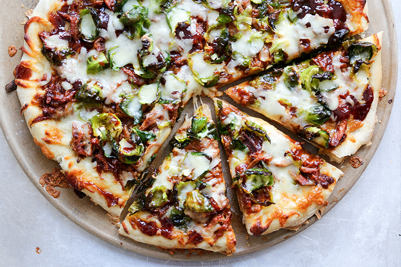 BBQ Pulled Pork Pizza with Brussels Sprouts