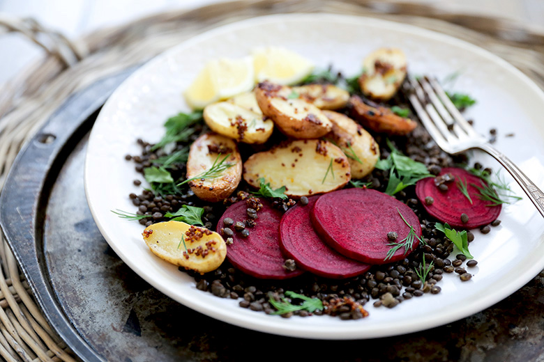 Lentil and Mustard-Roasted Potato Salad with Beets