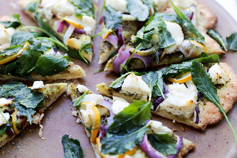 Middle Eastern Pizza with Red Onion, Fennel, Lemon, Ricotta and Kale | www.floatingkitchen.net