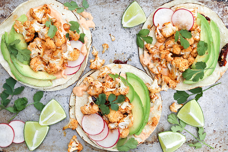 Roasted Cauliflower Tacos with Chipotle Cream