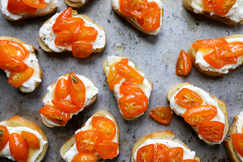 Spicy Kumquat and Whipped Ricotta Crostini