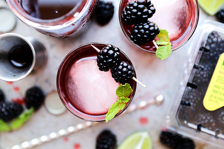 Blackberry-Ginger Shrub Rum Cocktail