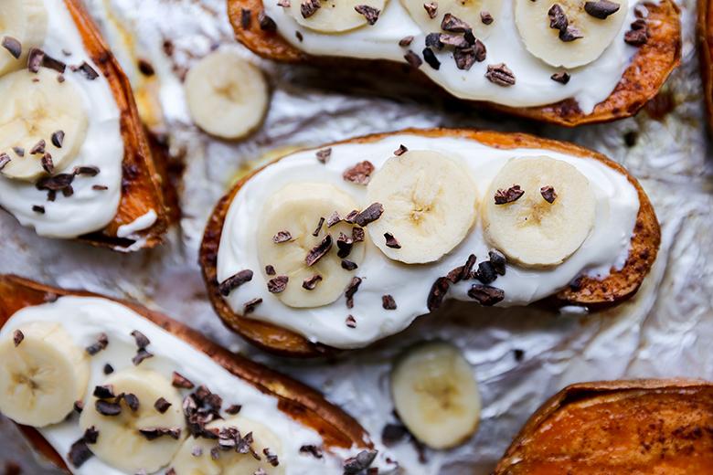 Roasted Sweet Potato and Yogurt Breakfast Boats