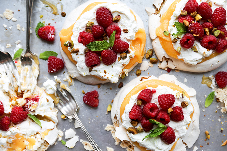 Pistachio Pavlovas with Papaya Curd and Fresh Raspberries | The ...