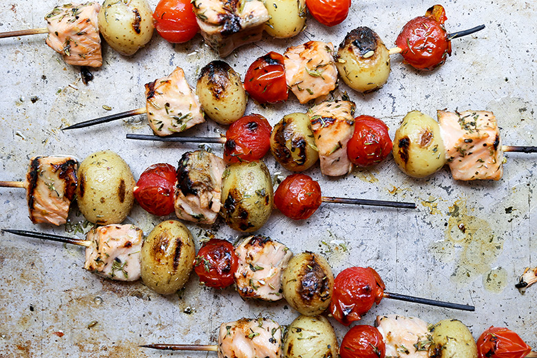 Grilled Salmon, Potato and Tomato Kebabs