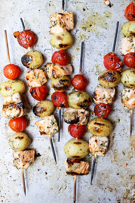 Grilled Salmon, Potato and Tomato Kebabs | www.floatingkitchen.net