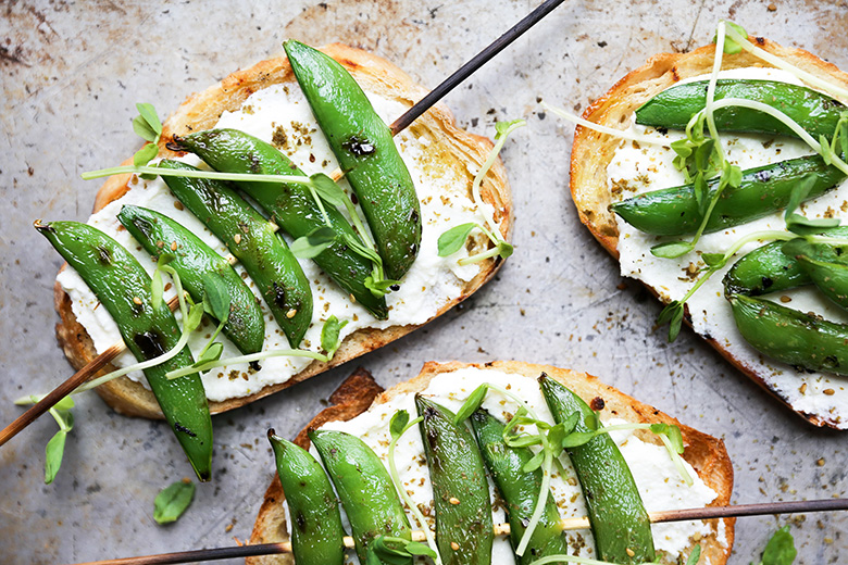 Grilled Snap Pea and Whipped Ricotta Toast