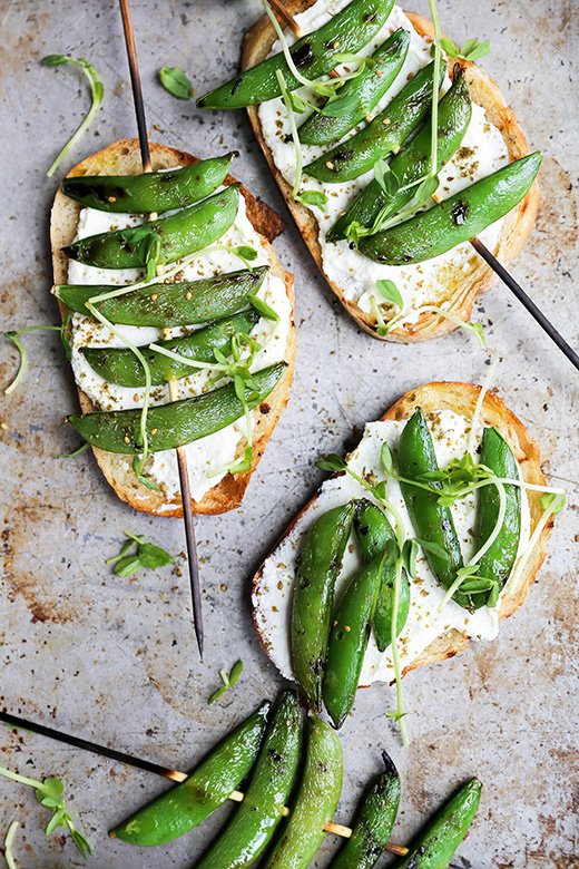 Grilled Snap Pea and Whipped Ricotta Toast | www.floatingkitchen.net
