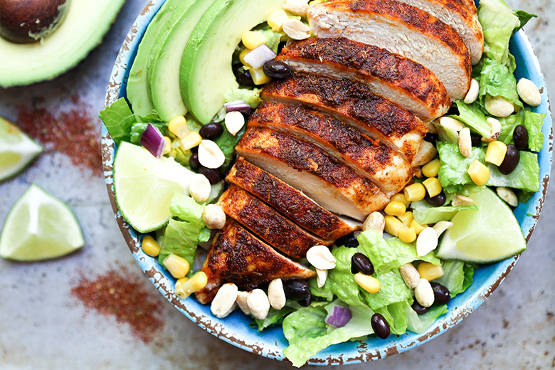 Spicy Southwest Chicken Salad with Peanut-Lime Dressing
