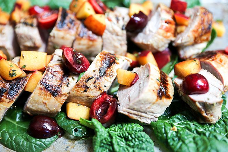Grilled Pork Tenderloin with Peach-Cherry Salsa
