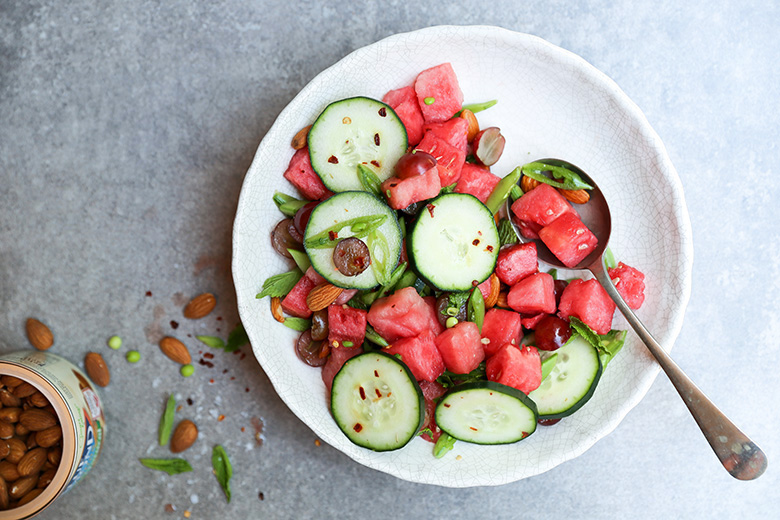 Hydrating Watermelon Salad with Grapes, Snap Peas and Cucumbers | www.floatingkitchen.net