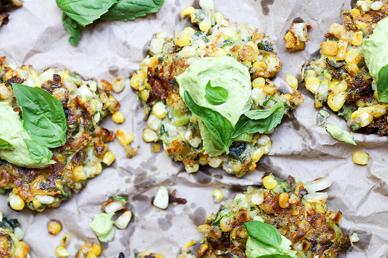 Sweet Corn and Squash Fritters with Avocado Crema