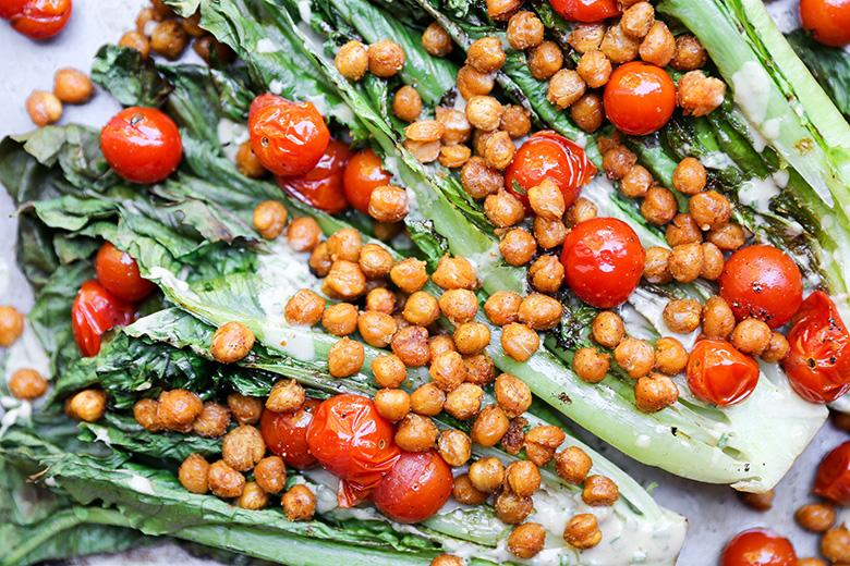 Grilled Romaine Salad with Roasted Chickpeas and Tomatoes