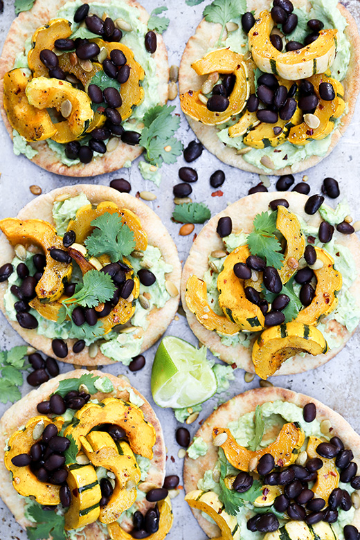 Roasted Delicata Squash Pita Tostadas with Black Beans and Guacamole | www.floatingkitchen.net
