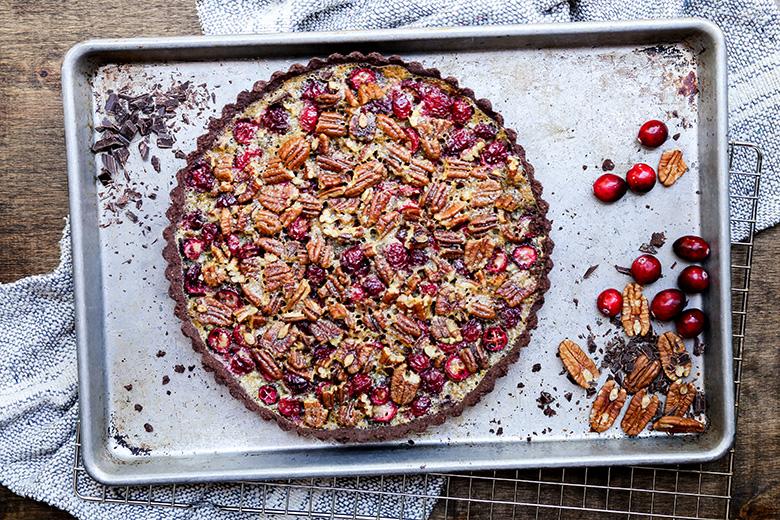 Chocolate Cranberry Pecan Tart {Gluten-Free}