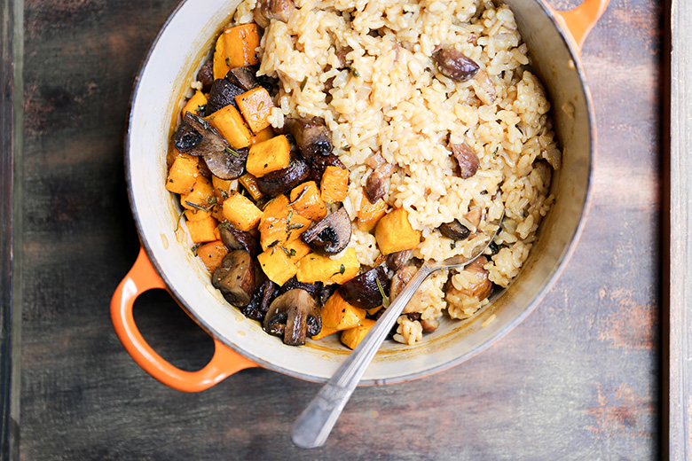 Chestnut, Mushroom and Butternut Squash Baked Risotto