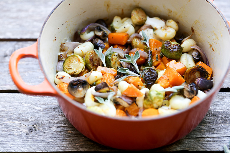 Gnocchi and Winter Vegetables with Sage Cream Sauce