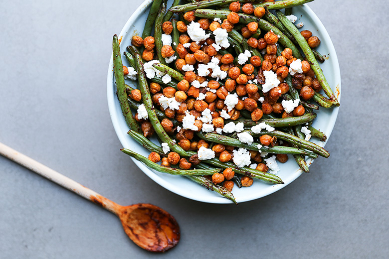 Harissa Green Beans with Spiced Chickpeas and Feta Cheese