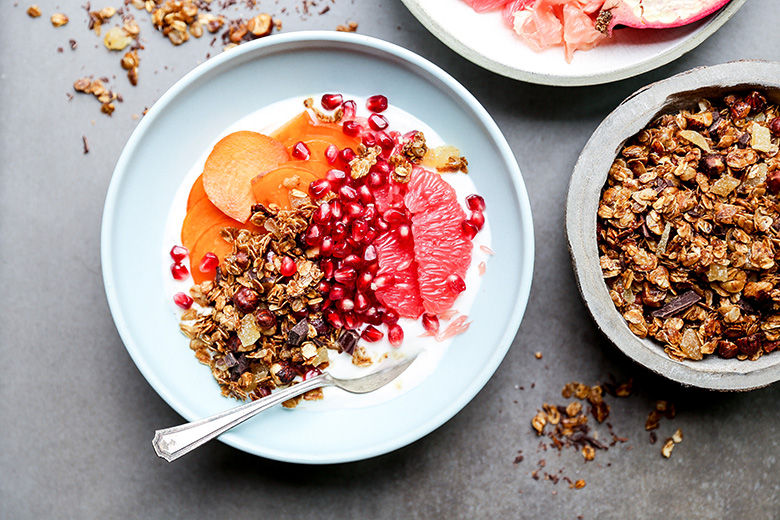 Winter Fruit and Yogurt Breakfast Bowls with Gingerbread Granola