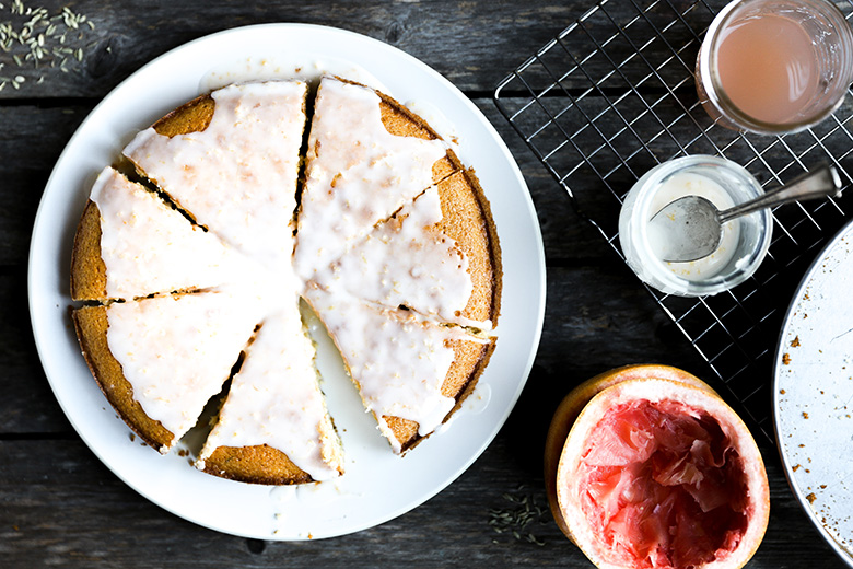 Olive Oil Cornmeal Cake with Grapefruit and Fennel