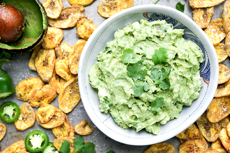 Jalapeño and Goat Cheese Guacamole with Baked Plantain Chips